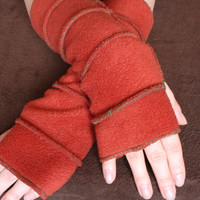 Fingerless gloves fleece arm warmers  sleeves rusty by tatoke