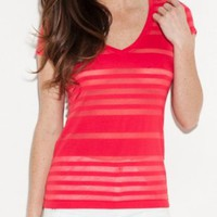 Amazon.com: G by GUESS Caley Striped Burnout Tee: Clothing