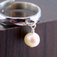 NEW Freshwater Pearl Ring, Sterling Silver Charm Ring, Adjustable Size, Hammered Finish, Tween Jewelry, June Birthstone