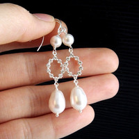 Pearl and Rhinestone Diamond Earrings, Long, STERLING Silver -Elizabeth- Bridal Wedding Jewelry, Bridesmaid gifts