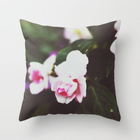 in the garden Throw Pillow by Beverly LeFevre