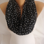 Chiffon Polka Dot Black White Foulard, Scarf, Spring Scarf, Summer Scarf Mother&#x27;s Day Gift-ESCHERPE