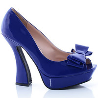 Peep Toe Bow Pumps in Cobalt Blue