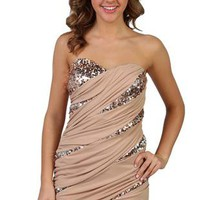 two tone ruched strapless club dress with spliced sequin inserts - 1000042711 - debshops.com