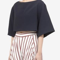 Chloé - Oversized silk-blend cropped top | Black T-Shirts Tops | Womenswear | Lane Crawford - Shop Designer Brands Online