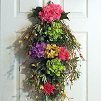 Summer Hydrangea Swag Wreath, Front Door Wreath, Wall Hanging, Pink