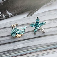Whale and Starfish Rhinestone Earrings | LilyFair Jewelry