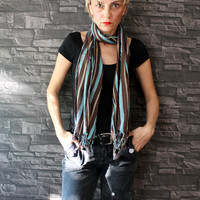 Multicolor Striped Shawl Scarf Gauze Scarf