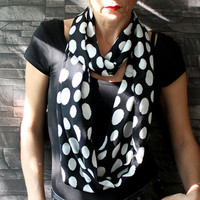 Infinity Scarf Loop Scarf Circle Scarf Cowl Scarf White Dots on Black Polka Dots