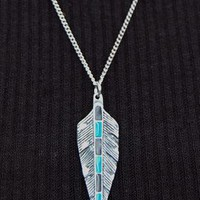 Silver, Turquoise and Black Feather on Silver Chain Necklace from Black Tied
