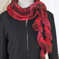 Women - Ruffled Scarf - Reds