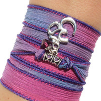 Namaste Silk Wrap Bracelet Om Yoga Jewelry Summer Bohemian Meditation Arm Band Purple Pink Etsy Unique Gift For Her Under 50 Item V30