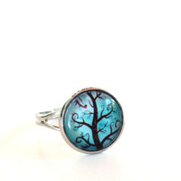 Tree of Life Ring Yoga Jewelry Adjustable Aqua Blue Green Earthy Antique Silver Spiritual Wisdom Unique Birthday Gift Under 20 Item E63