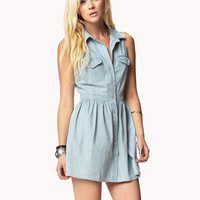 Crocheted Back Chambray Dress