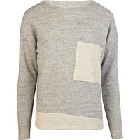 Grey marl Sparks colour block jumper