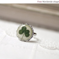 Four leaf Clover ring - Lucky ring - Jewelry for her (R012)