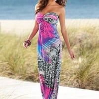 Pink Multi Strapless print maxi dress from VENUS
