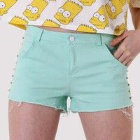 Mint Denim Studded Shorts with Shredding Detail