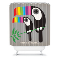 DENY Designs Home Accessories | Anderson Design Group Rainbow Toucans Shower Curtain