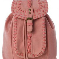 Pink Leather Look Fold-over Backpack with Knit Detail