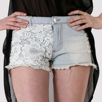 White Wash Denim Shorts with Crochet Front Patch Detail