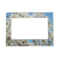 White Spring Blossom Magnetic Frame from Zazzle.com