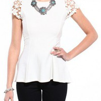 Lace Sleeve Knit Top in Ivory