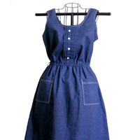 Vintage Summer Dress Denim Color Tank Style with Two Front Pockets and Elastic Waist - Size 14 Walden Classics