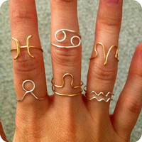 Zodiac Sign Ring FREE SHIPPING Silver or Gold colored available