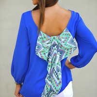 I Love You So Blouse: Royal Blue/Multi | Hope&#x27;s