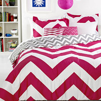 Chevron Pink 5 Piece Comforter Sets - Bed in a Bag - Bed &amp; Bath - Macy&#x27;s