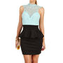 Mint/Black Crochet Neck Peplum Dress