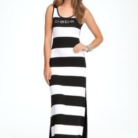 bebe Logo Stripe Racerback Maxi Dress