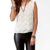Sheer Lace Overlay Top