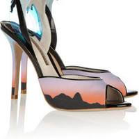 Sophia Webster|Rio Sunset printed matte-satin sandals|NET-A-PORTER.COM