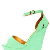 Moda 2 Light Green Super Platform Wedge Sandals
