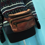 vintage brown leather fanny pack. leather waistpack. distressed leather pack. brown leather pouch