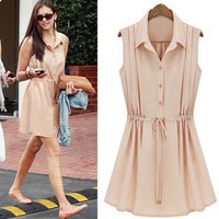 Temptation  your eyes  Star Sleeveless Chiffon Slim Dress