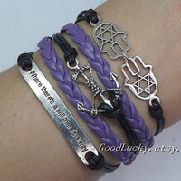 "Anchor Bracelet,Hamsa&Fatima Hand bracelet,""Where There's a Will There's a Way""Bracelet-Black wax rope,purple leather bracelet"