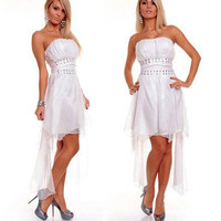 Romantic moments — White sexy dress of Rhinestone mesh gauze that wipe a bosom