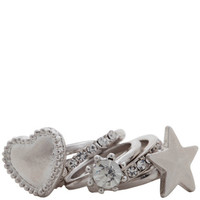 Womens - Brash - Women&#x27;s Five Piece Star Heart Stackable Ring - Payless Shoes