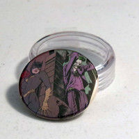Comic Book 1.5&quot; Button// Batgirl (Barbara Gordon) and Joker