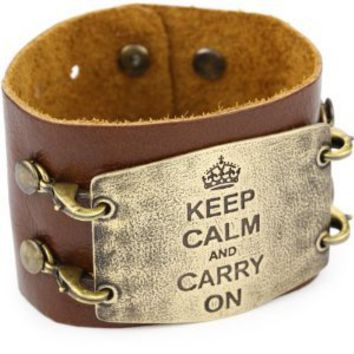 Lenny and Eva Chestnut with Brass Sentiment 'Keep Calm' Wide Cuff Bracelet
