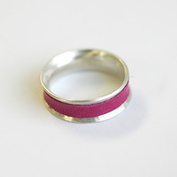 Leather and Silver Spinner Ring - EcoFriendly Sterling Silver Ring - Genuine Repurposed Leather - Spring Summer Accessory