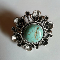 Natural Turquoise Tibet silver Vogue Mix Ring by Paulination