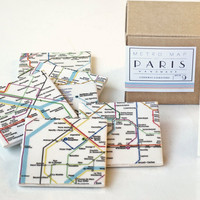 Coasters Paris Metro Map set of 9 by mayagencic on Etsy