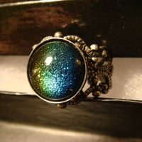 Dichroic Glass Rainbow Blue Green Turquoise Antique Silver Ring- Adjustable (1101)