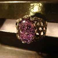 Dichroic Glass Purple and Black Antique Silver Ring- Adjustable (1100)