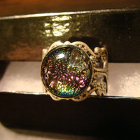 Antique Silver Ox Rainbow Dichroic Glass Galaxy Ring  - Adjustable (1098)