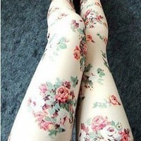 Rose Floral Leggings Tights Pant Trousers